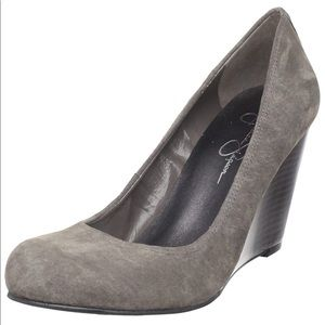 NWOT Jessica Simpson Gray Suede Wedge Pumps